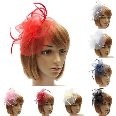 US Women Flower Headband Hat Feather Veil Net Cocktail Party Wedding Headpiece