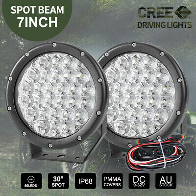 Pair 7 inch CREE SPOT LED Driving Lights Round Off Road 4x4 Spotlights Red
