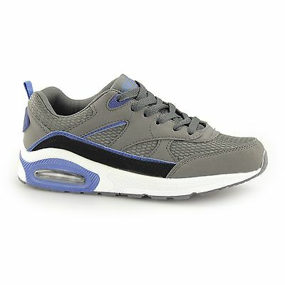 Shumo LEGACY Boys Kids Junior Lace Up Sporty Air Pocket Trainers Dark Grey/Blue