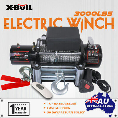 X-BULL NEW 12000LB Electric Winch Wireless Steel Cable 12V 5454kg 2x Remote 4WD