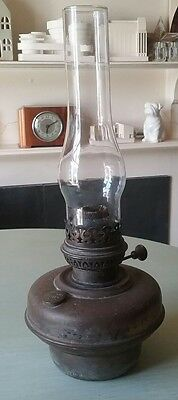 Antique Victorian Early Veritas Brass  Oil Lamp Base Burner & Glass Shade