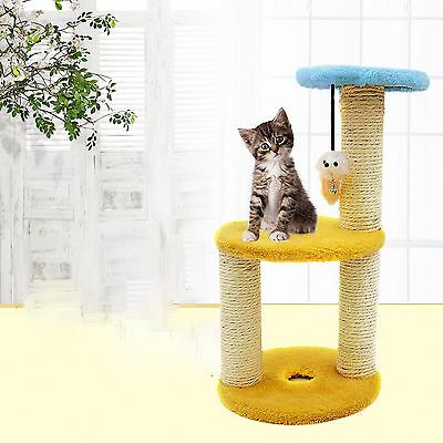 Cat Kitten Scratching Post Tree Scratcher Bed Activity Centre Climbing Toy beige