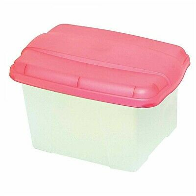 Crystalfile Porta Box 32 Litre Clear Base - Pink Lid