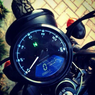 LCD Digital Motorcycle Speedometer Odometer Motor Bike Tachometer Gauge
