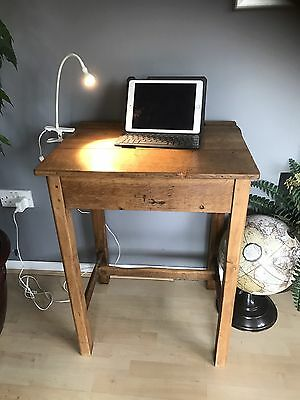 Vintage Oak School Desk Full Height iPad desk , 1940's mid century with light