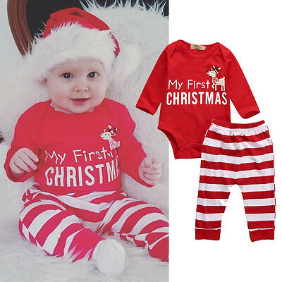 Newborn Baby Boys Girls Christmas Clothes Tops Romper+Stripe Pants 2PCS Outfits