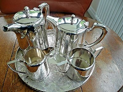 Silver plate tea and coffee set by Walker and Hall