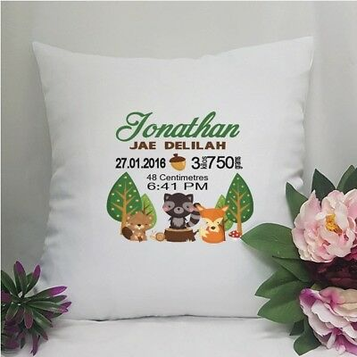 Birth Details Cushion Cover Woodland - Personalised Custom Gift