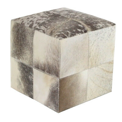 "Deco 79 Rustic Wood & Real Organic Smoke Gray Cowhide Leather 16"" Square Ottoman"