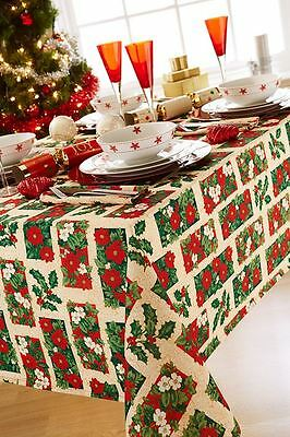 """Christmas Floral Holly Beige 8 - 10 Place Rectangular Tablecloth 70"""" X 90"""""""