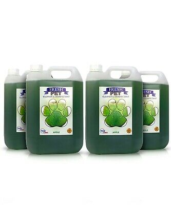 4 X 5L FRESH PET Kennel Cattery Disinfectant, Cleaner, Deodoriser APPLE PIE