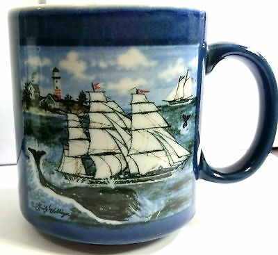 Mug Cup Sperm Whales Schooner Otagiri Japan Ceramic Coffee Ocean Lighthouse Vtg