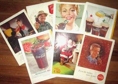 (7) Vintage Coca-Cola Magazine Ads~from National Geographic Covers 1951-63