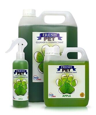 FRESH PET Pack Kennel/Cattery Disinfectant APPLE 250ml Spray 1L Spray + 5L