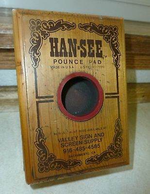 Beautiful 2pc Wood Box HAN-SEE Pounce Pad, Excellent Condition 1950's Era