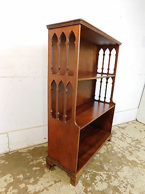 Vintage 50s Traditional Antique Gothic Arches Style Mahogany Open Bookcase Curio