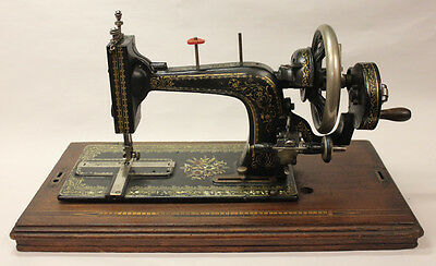 Antique Sewing Machine, Mother of Pearl, Inlaid Wood