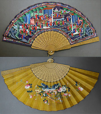 Large Colorful Chinese Export Hand Carved Sandalwood Fan 1000 Faces Bird Flowers