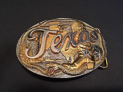Large Belt Buckle Texas State Gold Silver Metal Cowboy Star Snake Bull Cow