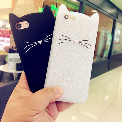 NEW Fashion Flash Powder Cat Soft Silicone Case Cover For iPhone 5S SE 6S 7 Plus