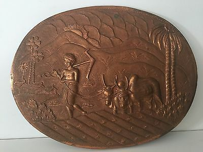 "Vintage Indian Hand Crafted Embossed Copper Oval Wall Panel, 13 3/4"" x 10 3/4"""