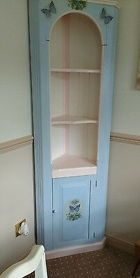 Beautiful Shabby Chic solid Pine Corner Unit Storage Shelves Cabinet Dresser