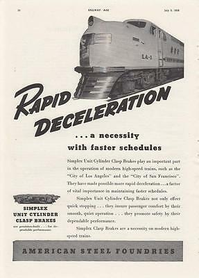 1938 American Steel Foundries Ad: Union Pacific Railroad City of San Francisco