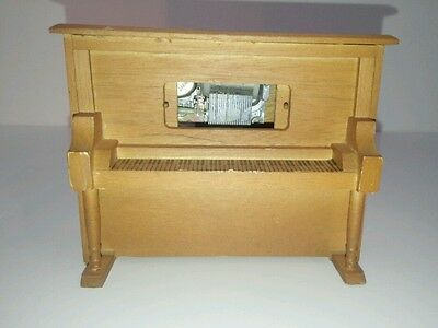 Wooden Upright Piano Music Box Player w/visible drum ~ Sankyo ~ Made in Japan