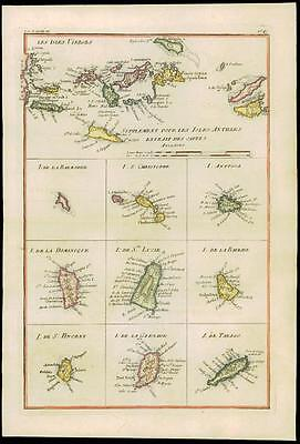 1780 Antique Map LES ISLE VERGES West Indies Virgin Islands Antigua by Bonne (10
