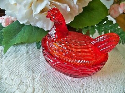 "4"" Glass Covered hen on nest Chicken basket dish Red Mosser Glass"