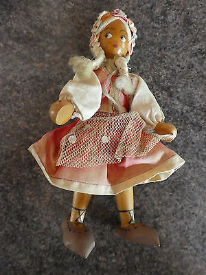 Vintage Wooden doll hand painted face Made in Poland