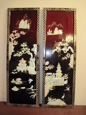 Set Of 2 Vintage Chinese Pagodas Mother Of Pearl Wall Hangings Panel 12 X 36""