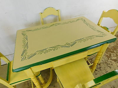 Antique 1940s Deco Ugo Mochi Enamel Top Kitchen Set Table +4 Wood Painted Chairs