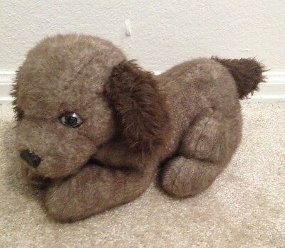 vintage plush stuffed Spencer brown puppy dog, America Wego Inc, 1982, 14""
