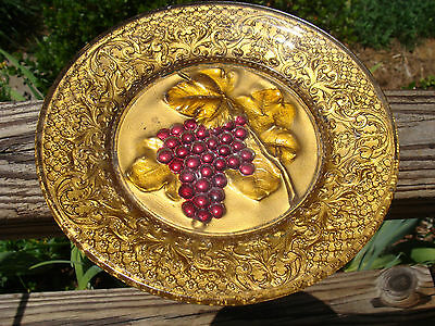 "Goofus Glass 8.25"" Grapes PLATE Heavy Ornate rim 1900s Original Paint 99%!"