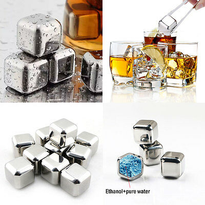 2Pcs Stainless Steel Whisky Wine Ice Stones Drinks Cooler Cubes Whiskey Scotch