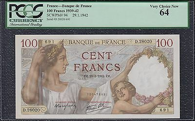 PCGS 100 Francs from France 29.1.42 Very Choice New 64