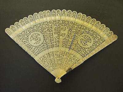 beautiful original canton handcarved wood chinese eventail fan 18/19 th century