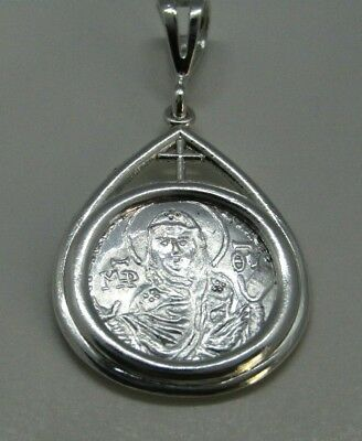 Virgin Mary Vlachernae Byzantine Solid Silver Coin Pendant with Cross medal