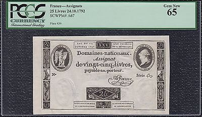 PCGS Assignat 25 Livres from France 24.10.1792 Gem New 65