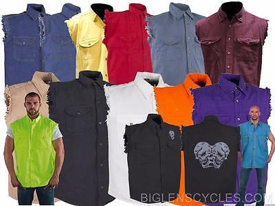 ecc60230bbc Sleeveless Denim Button Front Men s Biker Shirts Various Colors Available
