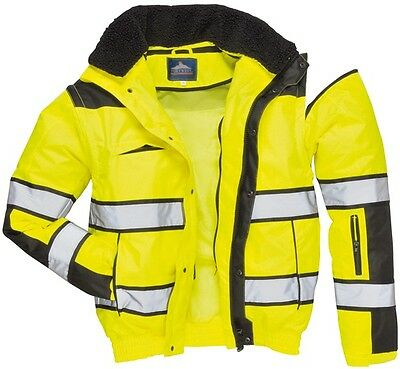 954 Yellow Hivis Bomber Jacket Med C466YBRM Portwest Genuine Top Quality Product