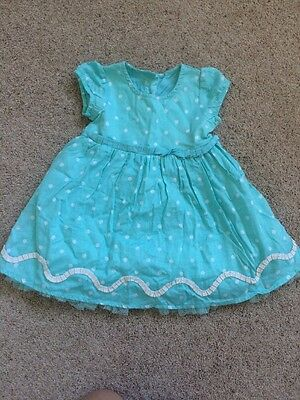 Gorgeous Marks And Spencer Turquoise Baby Girls Dress 9-12 Months Party Dress