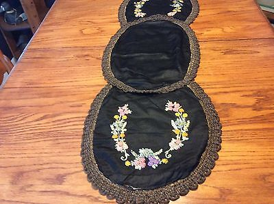 Antique Victorian Black Silk Table Runner with trapunto