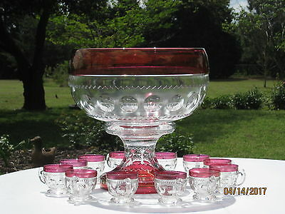 "*price Reduced*  Tiffin Kings Crown 16"" Punch Bowl, 7.5"" Base & 12 Punch Cups"