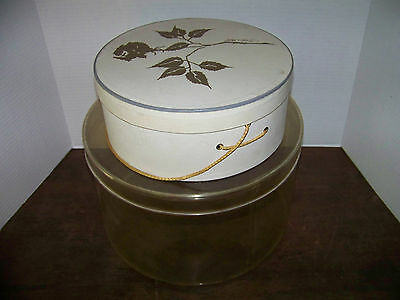 VINTAGE HAT BOX x2 w/Rope Handle - LORD & TAYLOR & Lrg Clear Round Box