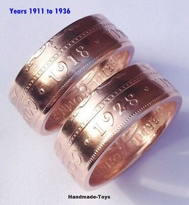 Australian Penny Handmade to Coin Ring - 1911 to 1947