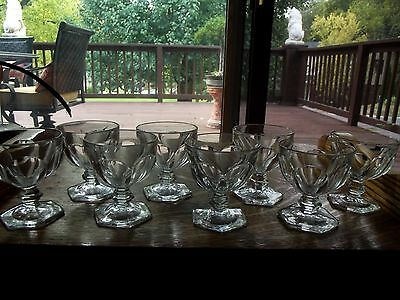 """(8) Footed 3 oz Sherbet Glasses 3.5"""", Colonial Puritan Clear Heisey Glass #341"""