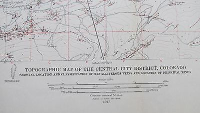 1917 Topographic Map Central City District Colorado-Mines-Mining-Railroads