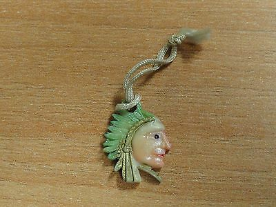 Vintage Celluloid Indian Chief Cracker Jack Type Charm